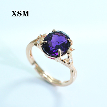 XSM silver 925 jewelry Natural amethyst Gemstone adjustable Ring fine jewelry for women engagement Ring Female Ring  Jewelry New