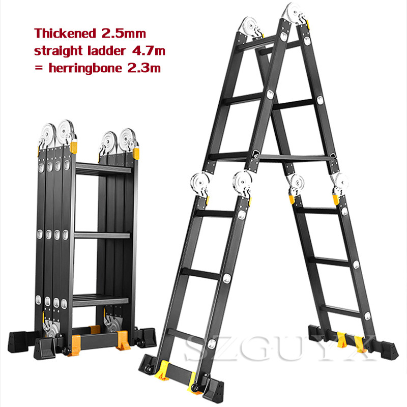 Multifunctional Folding Ladder Aluminum Ladder Straight Ladder 4.7 M Ladder Home Lifting Straight Ladder Engineering Ladder