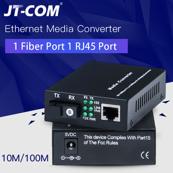 1 Pair Optical Fiber Media Converter 10/100M Singlemode Simplex Fiber Transceiver Single Fiber Converter 1310/1550nm 20km SC