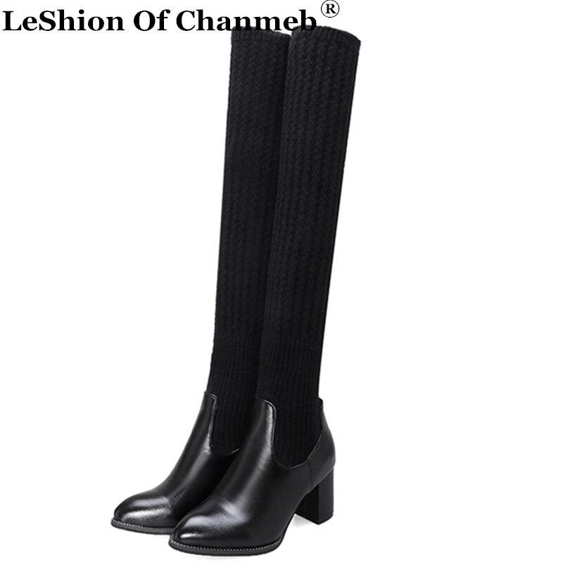Stocking Boots Shoes Block-Heels Snow Winter Women Ladies New Warm Knee Size-48 Weave