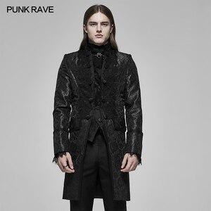 Мужское длинное жаккардовое пальто, Черное длинное вечернее пальто с воротником-стойкой, аппликацией и декоративным рисунком в стиле панк