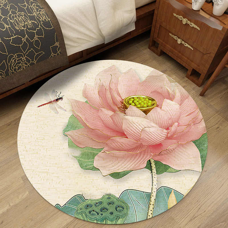 3D 花ラウンドリビングルームパーラー寝室ラグマット床マットノンスリップドアマット Tapete パラサラ家の装飾