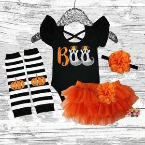 PUDCOCO Halloween recién nacido bebé niña Tops + tutú pantalones cortos vestido + diadema + calentadores de piernas ropa soporte al por mayor