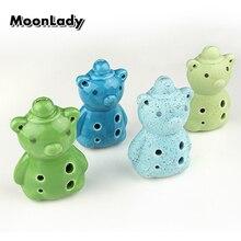 4 Colors Ocarina 6 Hole Bear Small Ocarina Alto C Tone Beginner Ocarina Tourist Souvenir Teaching Toys Ceramic Pendant