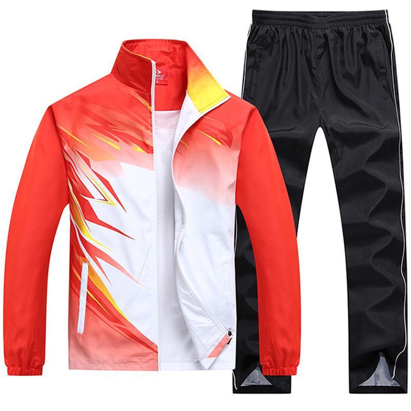 New Spring Autumn Men Sporting Suit Outwear Women Tracksuit Sweatshirt Set Jacket+pant Gradient Color Brand Clothing