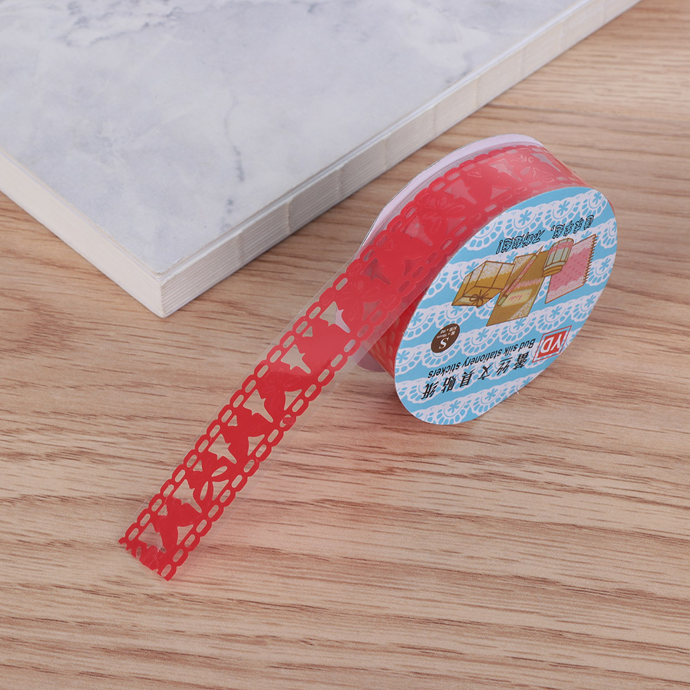 Red Butterfly Lace Style Transparent Plastic Sticky Craft Tape