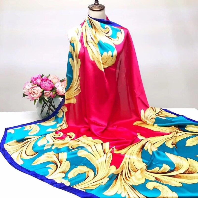 Hi-Q New Scarf Woman Scarves Oil Painting Tree Kerchief 140CM Big Handkerchief Satin Face Silk Scarf Fashion Shawl Hijab Scarf