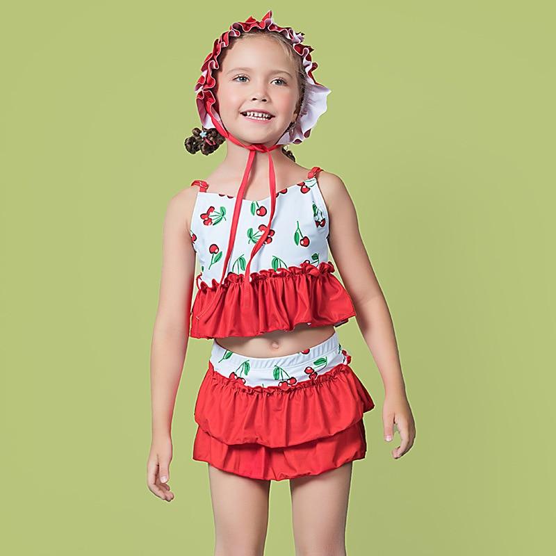 2018 Baby Girls Cute Big Boy Bubble Hot Spring Split Skirt-KID'S Swimwear With Swim Cap GIRL'S Swimsuit