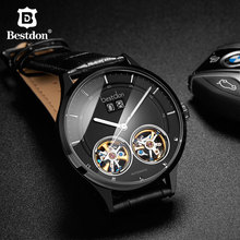 Bestdon Switzerland Double Skeleton Men's Watch Waterproof Automatic Mechanical Leather Watches Luxury Big Dial Brand Wristwatch все цены
