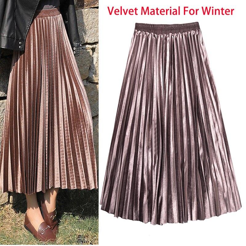 Winter Autumn Women's Pleated Skirt Velvet Print High Waist Long Skirts Women Young Girl Thick Large Size Fahion Female Falda