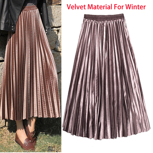 Winter Autumn Women's Pleated Skirt Velvet Print High Waist Long Skirts Women Young Girl Thick Large Size Fahion Female Falda(China)