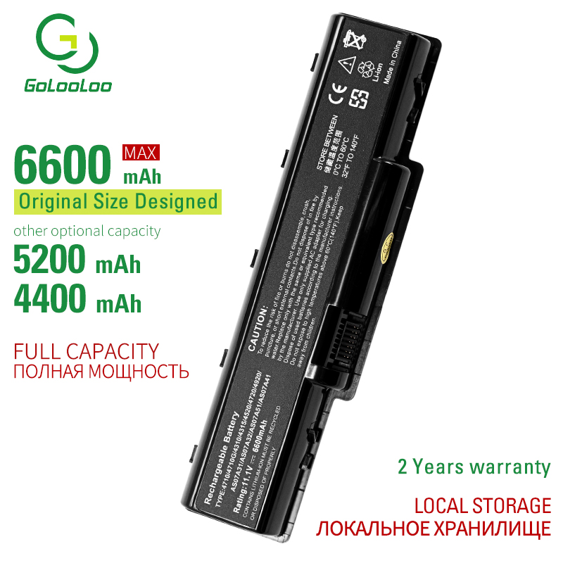 Golooloo 6600MAh 6cells laptop battery for Acer AS-2007A AS07A31 AS07A32 AS07A41 AS07A42 AS07A51 AS07A52 AS07A71 AS07A72 AS07A75 image