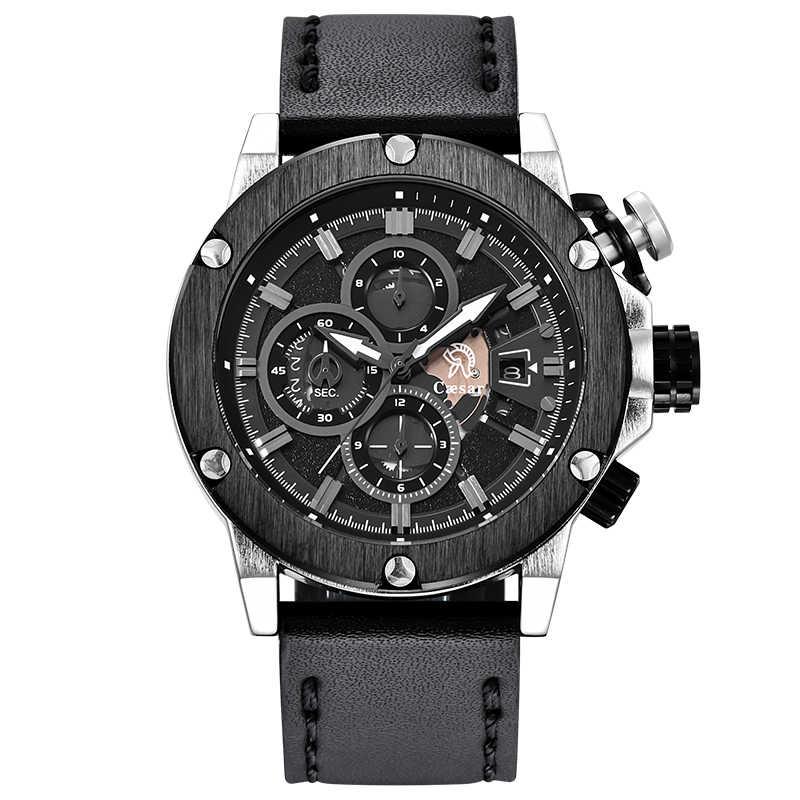 สายหนัง Rose Gold QUARTZ Chronograph นาฬิกาข้อมือบุรุษนาฬิกาสุดหรูนาฬิกาข้อมือชายนาฬิกาผู้ชาย 2019
