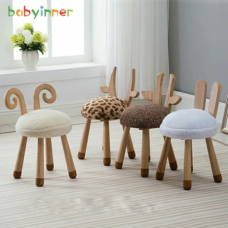 Baby Inner Solid Wood Mini Stool European Style Ins Explosion Lamb Chair Baby Room Decoration Kindergarten Child Seat 11*11*20in