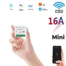 16A Tuya WiFi Smart Switch Led Light Smart Life Push Module Supports 2 Way APP Voice Relay Timer Google Home Alexa
