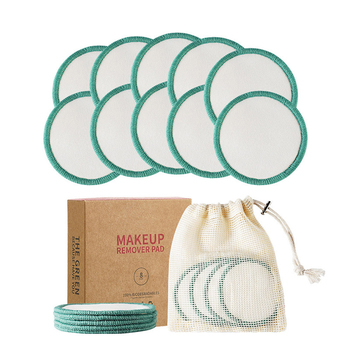 10 Pack Organic Reusable Makeup Remover Pads with Laundry Bag Bamboo Cotton Round Washable Pads for Toner Facial Cleaning Tool 1