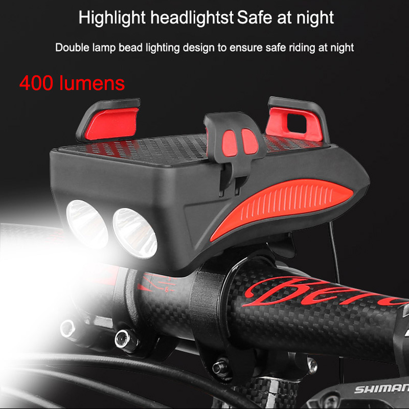 Bike Front Light With Horn Phone Holder Usb Rechargeable 400 Lumens Power Bank Cycling Lights Mtb Bike Light Bicycle Accessories|Bicycle Light|   - AliExpress