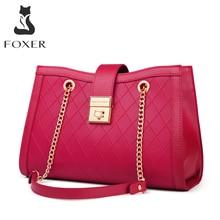 FOXER Split Leather Chain Shoulder Bags Women's Handbags Lady Middle Handle Purse Classic Shoulder Messenger Bag Luxury Design