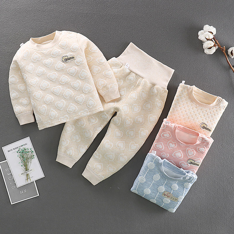 Autumn Winter Kids Thermal Underwear 2 Piece Sets Padded Cotton O-neck Long Sleeve Tops+High Waist Pants Children Outfit 6M-4T