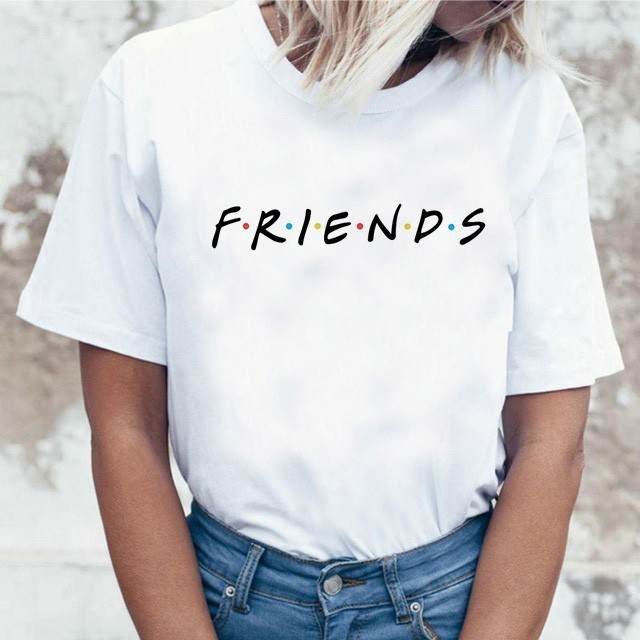 Harujuku Kawaii Friends ТВ футболка для женщин в Корейском стиле модная футболка Ulzzang 90s Графический с героями телесериала «друзья» футболка женские ф...