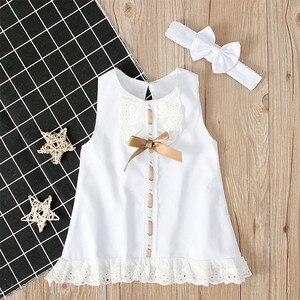 На возраст от 0 до 24 месяцев для маленьких девочек одежда для детей; Милые однотонные Цвет, бантом и кружевной каймой, безрукавка и повязка на голову из двух предметов платье принцессы Милая Детская одежда 2020 Лидер продаж|Платья|   | АлиЭкспресс