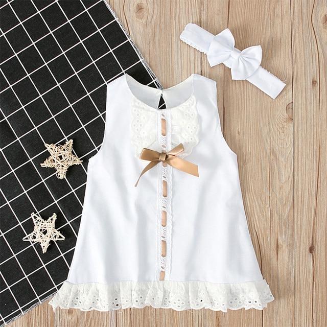 0-24M Baby Girl ubrania słodkie jednolity kolor łuk koronkowe brzegi bez rękawów z pałąkiem na głowę dwuczęściowy strój księżniczki słodkie ubrania dla dzieci 2020 hot