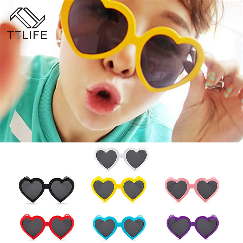 TTLIFE Yellow Love Sunglasses Women Pink Girls Oversized Heart Sun Glasses For Lady Cute Red Shaped Eyewear 90S Vintage