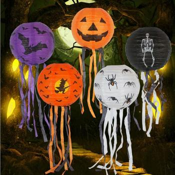 Halloween Decoration Horror Skull Head Spider Pumpkin DIY Paper Hanging Lantern image