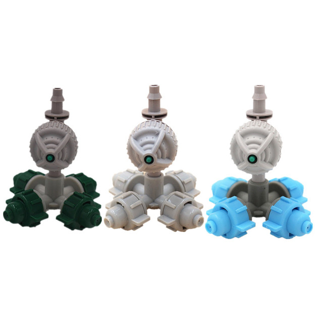 Fast Shipping 20PCS 4 Nozzles Fogger Misting Sprinkler With White Antileak Greenhouse Micro Irrigation Drip Watering Fittings
