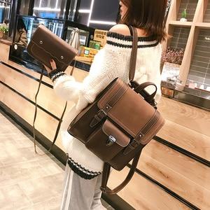 Image 4 - 2 unids/set de mochilas de cuero para mujer, mochila para chica adolescente, mochila para mujer, bolsas de viaje de Pu de gran capacidad, bolso escolar Vintage