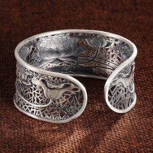 Image 5 - 999 couleur argent fleur bracelet nouvelle mode lotus taille réglable Original en argent Sterling couleur bracelet pour femmes hommes bracelet