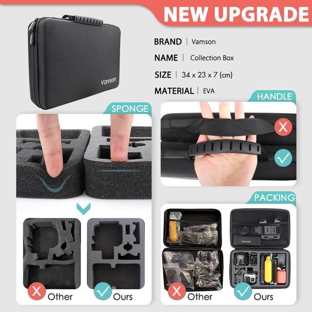 Vamson New Mini Universal Tripod Monopod Large Package Set for Go Pro Hero 9 8 7 6 5 4 Accessories for Eken h8r for phone VS188 2