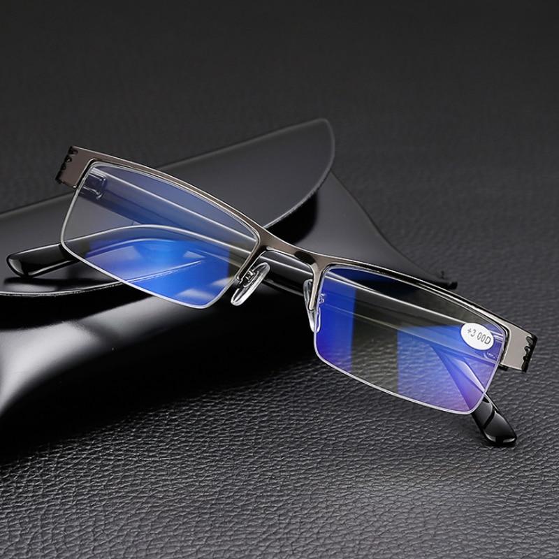 Titanyum alaşımlı erkek okuma gözlüğü presbiyopi erkekler yarım çerçeve iş bilgisayar gözlük reçine 1.0 1.5 2.0 2.5 3.0 3.5 4.0