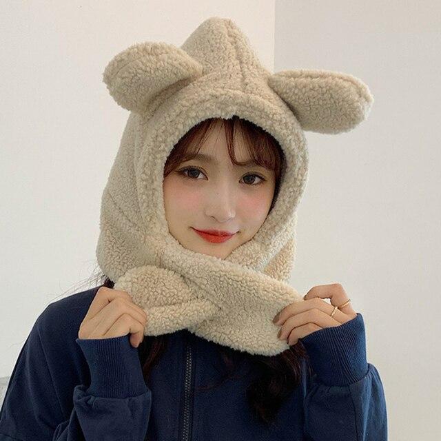Купить зимний аксессуар милая шапка с шарфом в корейском стиле теплый картинки цена