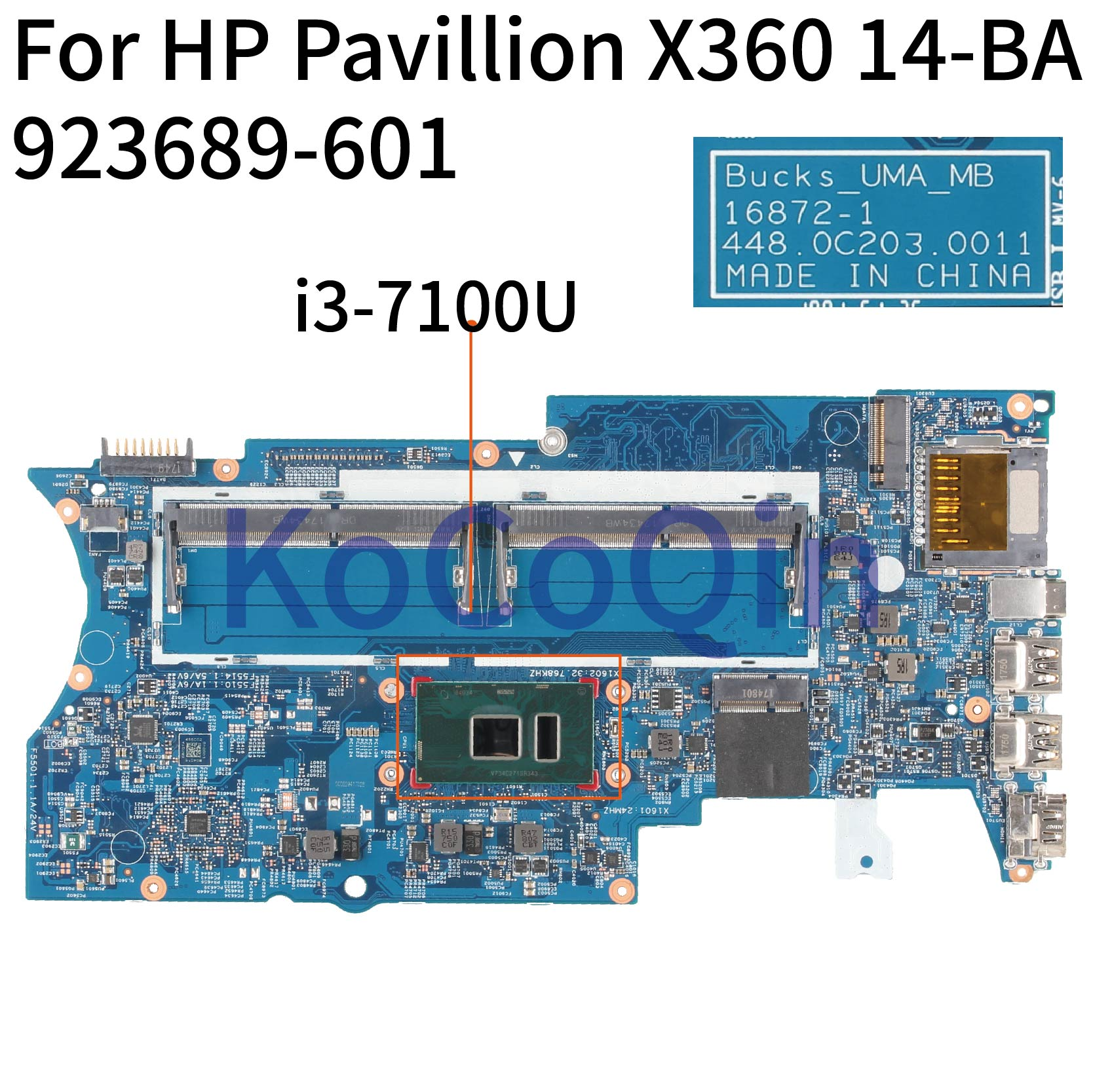 KoCoQin Laptop motherboard For HP Pavillion X360 14 BA Core SR343 i3 7100U Mainboard 923689 601 16872 1 Laptop Motherboard     - title=