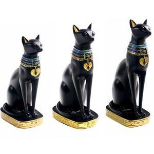 Rzemiosło żywicy egzotyczne celnej figurka statua egipski kot bogini Bastet statua prezenty do dekoracji domu dom w stylu Vintage ozdoby