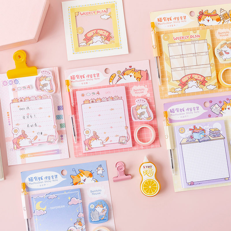 Cute Rich Cat Memo Sheet With Ballpoint Pen Tape Sticky Notes Stationery Set Scrapbooking Tools To Do List Planner Sticker