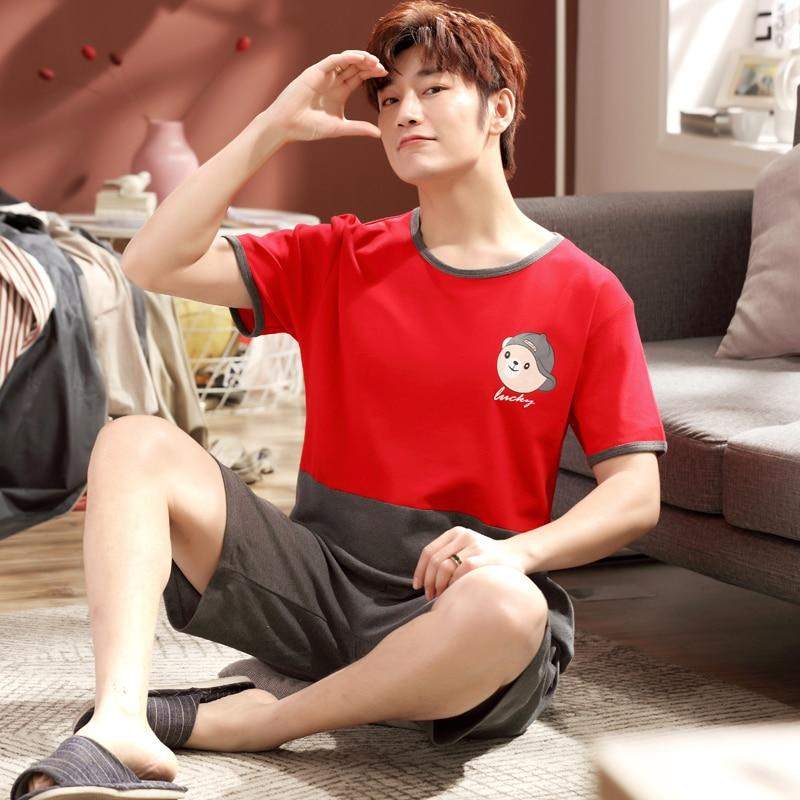 Yidanna 2018 Men Pajamas Set Short Sleeved Male Sleep Clothing Sleepwear Plus Size Cotton Nightwear Nighties Summer Pants+shirt