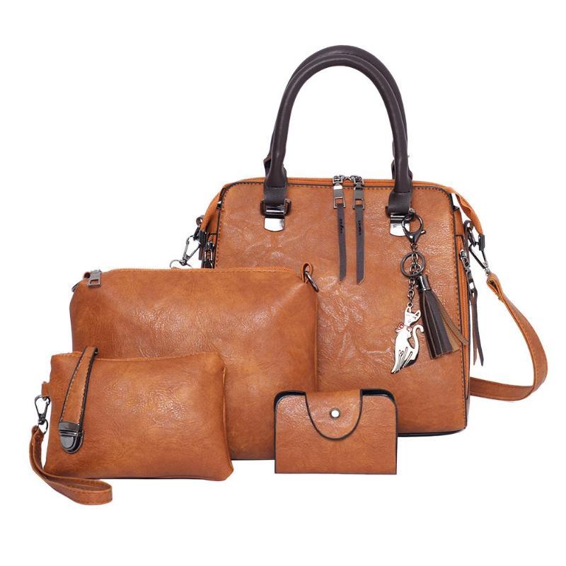 Hot Sale Handbags 4pcs/set Classic Delicate Texture Vintage PU Leather Women Shoulder Totes Bag Pure Color Handbag Clutch