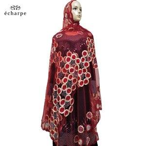 Image 4 - 2020 nowa afrykańska kobiety szaliki muzułmańskie haftowane netto szalik przezroczysty szalik koło Deisgn szalik na szale Pashmina BM802