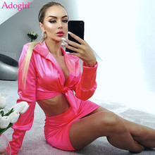 Adogirl Women Sexy Solid Satin Two Piece Set Dress Front Tie Long Sleeve Shirt C