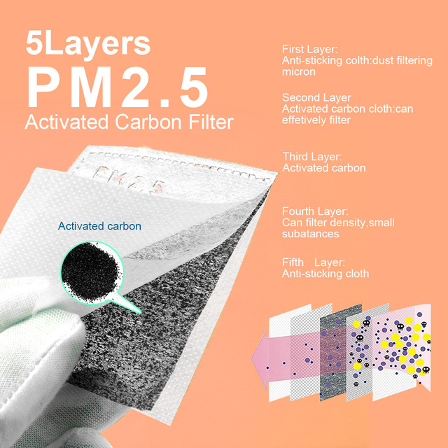 100 /10 pcs PM 2.5 Mask Filter Anti Haze 5 Layers Activated Carbon Mask Filters Replaceable For Adults Mouth Mask Health Care 5
