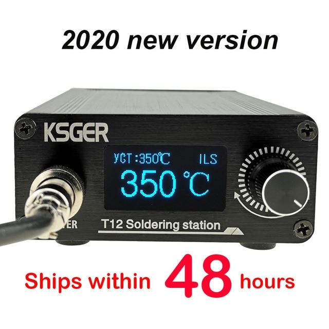 KSGER Estación de soldadura T12, herramientas de bricolaje STM32 V3.1S OLED, puntas de hierro T12, mango de aleación de aluminio 907, soporte de Metal, calor rápido