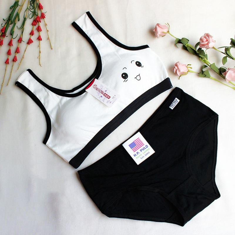Soft Bra Teenage Underwear Bra Set Training Bras and Panties Puberty Students Bra Vest