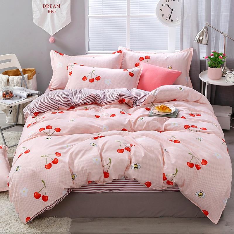 Cherry Print Light Pink Bed Sheets | Cherry Print Bedding