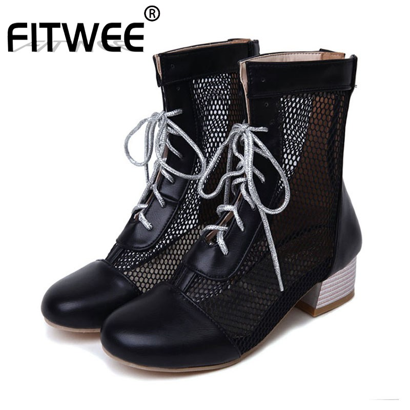 FITWEE Plus Size 33-45 Dropshipping Ankle Boots Women Shoes Chunky Heel Hollow Mesh Woman Office Lady Summer