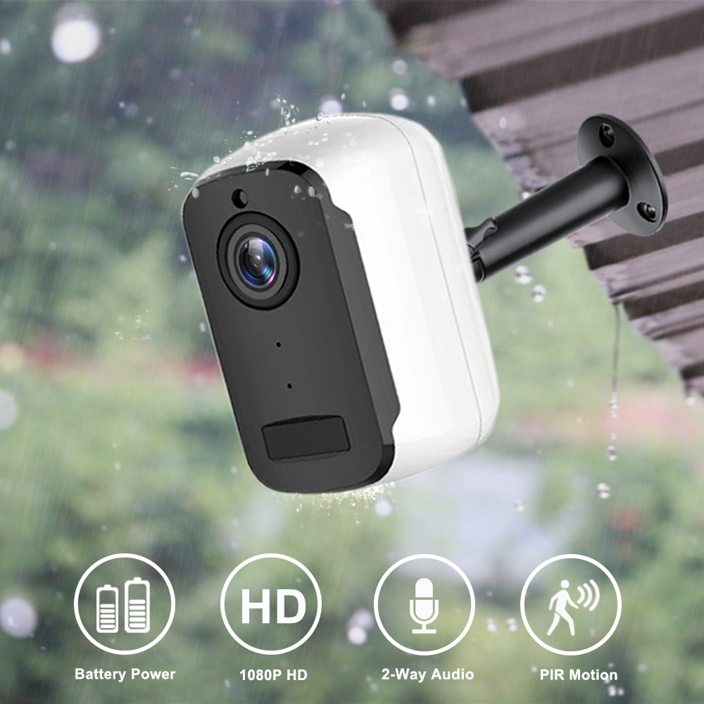 1080P HD WiFi IP Camera Outdoor Wireless Security Battery Charge Camera Audio Surveillance CCTV PIR Motion Detection SD Card title=
