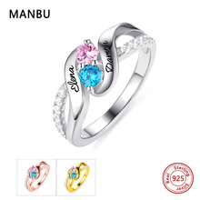 925 Sterling Silver Women  Ring  Personalized custom birthstone ring Zircon Fashion Wedding Ring jewelry for Ladies 925 sterling silver arabic ring personalized custom nameplate thin ring arabic letters name jewlery women fashion
