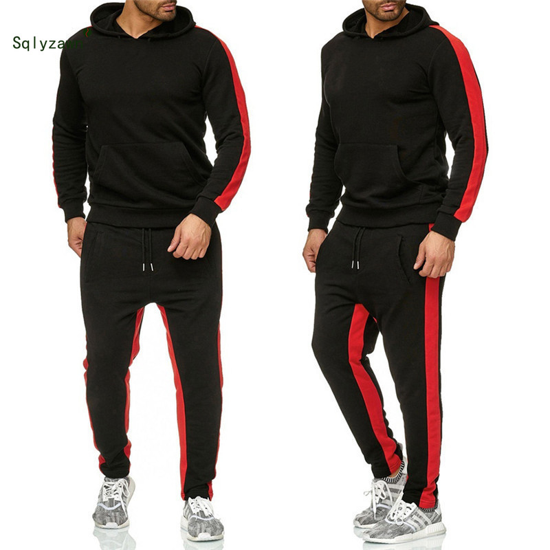 Autumn Winter Men Sweatshirt Tracksuit Two Piece Sportswear Set Side Stripe Long Sleeve Tracksuit Sweatpants Set Matching Outfit