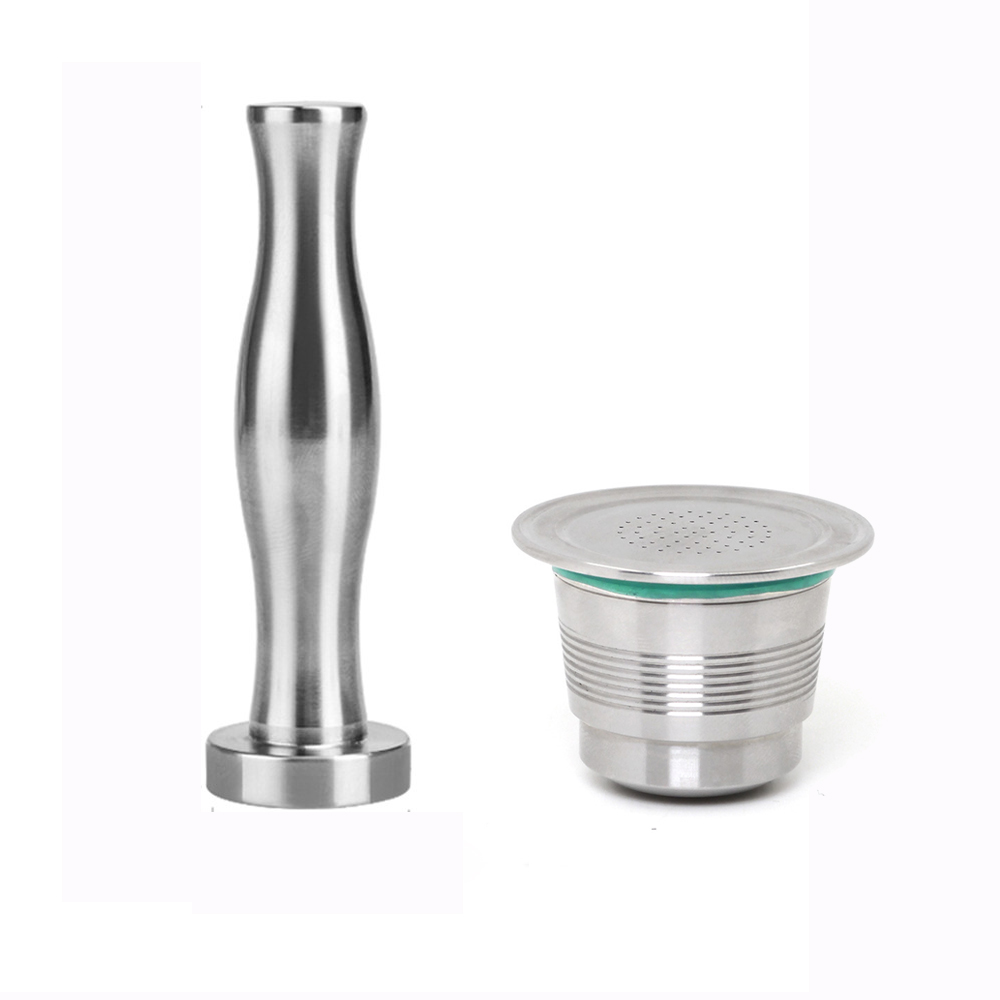 Coffee Filter Stainless Steel Nespresso Reusable Capsule With Press Coffee Stainless Tamper Refillable Coffee Capsules Pod New